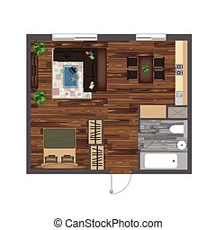 Architectural Color Floor Plan. Studio Apartment Vector Illustration. Top View Furniture Set. Living room, Kitchen, Bathroom. Sofa, Armchair, Bed, Dining Table, Chair, Carpet