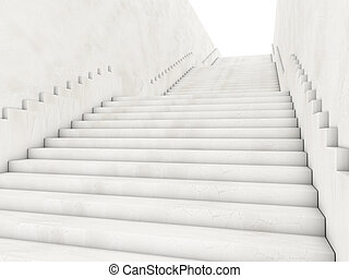 Architectural concept with stairs. 3D