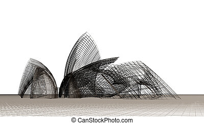 Architectural abstract composition, contemporary dynamical form.