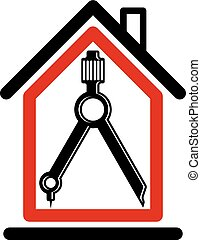 Architectural design conceptual symbol, simple house vector icon with compass. Design construction graphic element, building project or draft, engineer equipment.