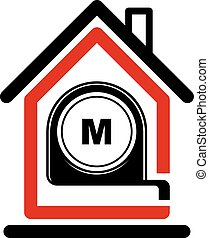 Architectural design conceptual vector symbol, simple house icon with tape measure. Design construction graphic element, building project or draft, engineer equipment.