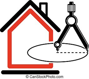 Architectural design conceptual vector symbol, simple house icon with compass. Design construction graphic element, building project or draft, engineer equipment.