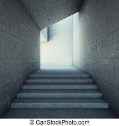 Architectural design of corridor with stairs