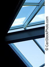 Aluminum frame, glass fill. Architecture, detail, structural materials.