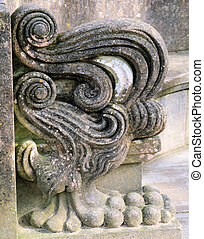 architectural scroll on stone seat