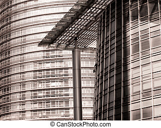 Architectureal detail of the contemporary building in Shanghai, China.