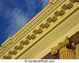 Architectural Detail - Detail of lintel with dentils and...