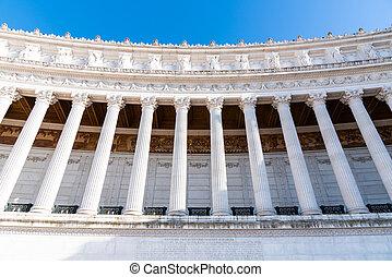 Architectural detail of columns of Vittorio Emanuele II Monument, aka Vittoriano or Altare della Patria. Rome, Italy
