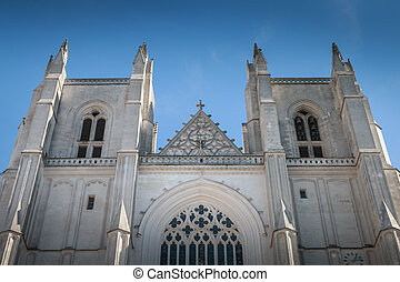 architectural detail of Saint Pierre Cathedral in Nantes, ...