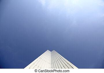 Architectural Detail of steel metal a modern geometry with blue sky background with copy space