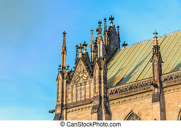 architectural detail of the Church of St Elizabeth in Basel, Switzerland