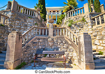 Architectural detail on Lungomare coast famous walkway in Opatija