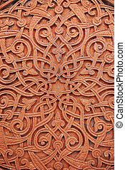 Architectural detail, part of a decor traditional ancient armenian decorative pattern