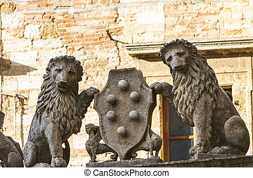 Montepulciano - Architectural detail with lions from ...
