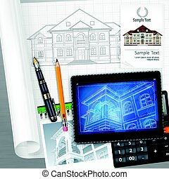 Architectural detailed plan at tablet