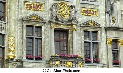 Architectural details at the Grand Place, Market Square of Brussels, Belgium.
