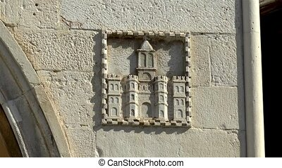 Architectural details in ancient Split, Croatia, city coat of arms, Old Town Hall.