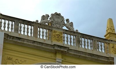 Architectural details in ancient Split, Croatia, coat of arms, Croatian National Theater.