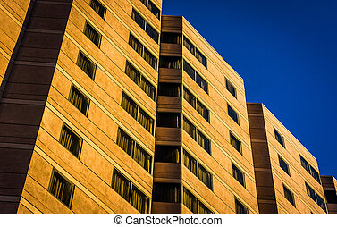 Architectural details of a hotel building in downtown ...