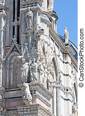 architectural details of duomo cathedral in Siena