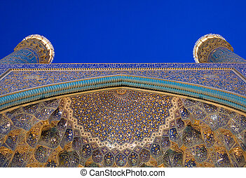 Architectural details of Imam Mosque at night, Isfahan, Iran