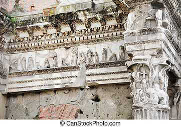 Architectural details of Minerva forum. Rome, Italy -...