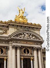 Architectural details of Opera National de Paris: Front Facade. Grand Opera (Garnier Palace) is famous neo-baroque building in Paris, France - UNESCO World Heritage Site.