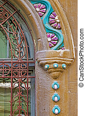 Architectural details on a historic building in Timisoara, Romania