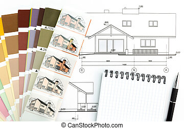 Architectural drawing with notepad and color samles
