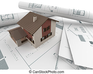 architectural drawings and house - 3d house model emerging...
