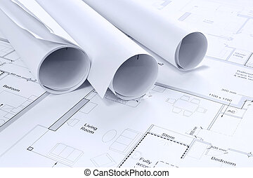 Architectural drawings background. - Still life photo of...