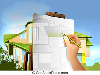 Architectural drawings with the house on the background