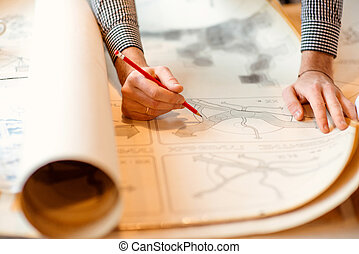 Architectural drawings - Projecting with pencil on the big...