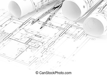 architectural drawings with floor plan, blueprint rolls and drawing compass