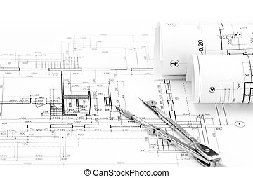 Rolls of architectural blueprints and house plan with picture architectural drawings with house plan rolls of architectural blueprints malvernweather Images