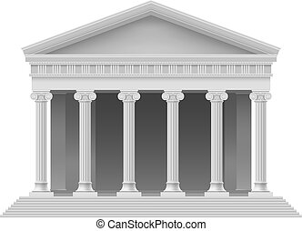 Big Portico an ancient temple. Colonnade. Illustration on white