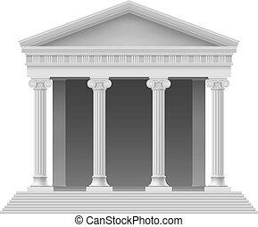 Architectural element - Portico an ancient temple. Colonnade...