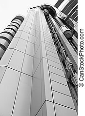 Architectural Exterior Detail of Factory Building with Elevator Perspective