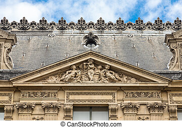 Architectural exteriors details of the Louvre museum