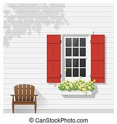 architectural, fenêtre, 3, fond, élément