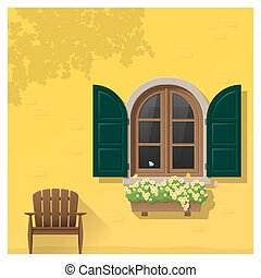 architectural, fenêtre, 4, fond, élément