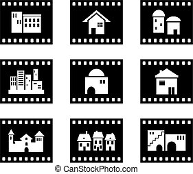 architectural film - set of six film negative style...