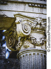 architectural, Greek-style columns, Corinthian capitals in a...