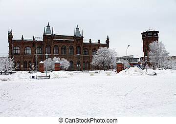 Architectural historic building in the winter.