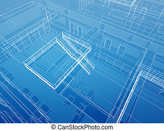 Wired transparent cad 3d geometry of architectural interior with straight stairs