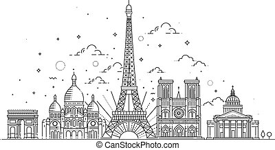 Architectural landmarks of Paris - Vector illustration drawn...