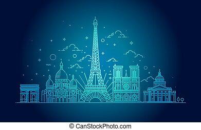 Architectural landmarks of Paris. Vector illustration