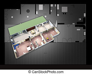 architectural map and 3d plan model