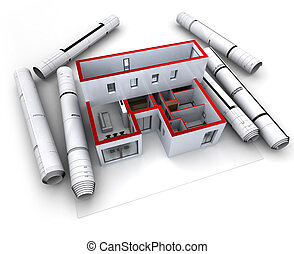 Architectural model design red - Architectural model of a ...