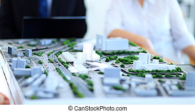 architectural model of a modern buildings